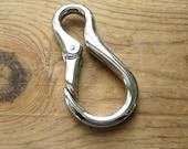 """Large Nickel Snap Hook with Spring Closure 3"""" x 1 5/8"""" Knife Dangler or Key Belt Loop Hook"""