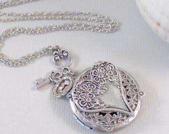 Heart Felt,Heart Locket,Heart Necklace,Locket,Necklaces,Key,Lock and Key,Heart,Initial,Floral Locket,silver Locket,Valleygirldesign