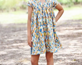 Sedona Top and Dress PDF Sewing Pattern, including sizes 12 months-12 years, Girls Dress Pattern, Dolman Dress Pattern