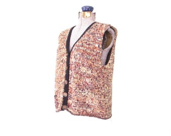90s Sweater Vest * Vintage Fiber Art Vest * Sleeveless Chunky Knit Top * Medium