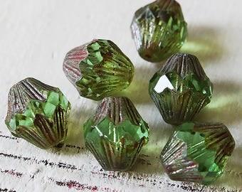 13x12mm Baroque Bicone Beads - Czech Glass Beads - Jewelry Making Supply - Large Bicone Lantern -  Peridot - Choose Amount