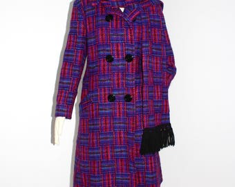 Vintage PIERRE CARDIN CREATION Plaid Wool Coat Scarf Double Breasted