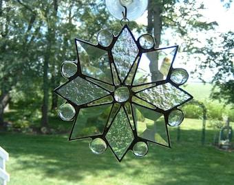 Small Clear Iridescent Bevel Snowflake Suncatcher