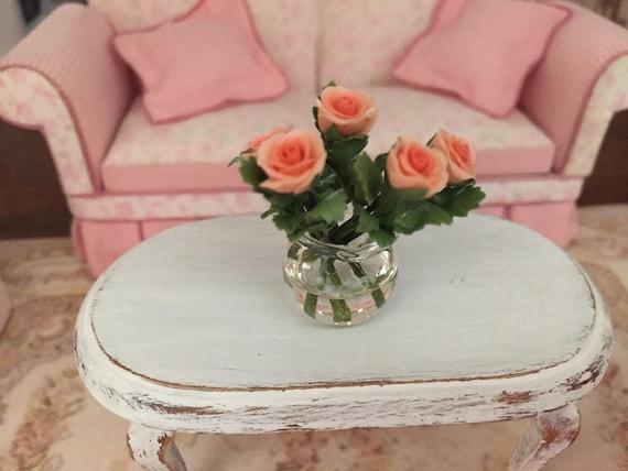 Miniature Coral Roses in Glass Vase,  Dollhouse Miniature, 6 Coral Roses With Leaves, 1:12 Scale Miniature, Mini Roses in Vase, Clear Vase