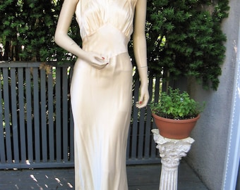 """Vintage 30s 40s Peachy Pink Satin Rayon Negligee Bias Cut Gown, Small """"Intimately Yours"""" Label"""