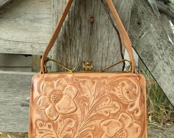 STUNNING Vintage Tooled Leather Western Handbag Purse by Abascal-Small Rodeo Queen Floral Hand Bag