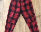 "Vintage Men's Wool Red Black Plaid Buffalo Check Hunting Pants 38"" Waist"