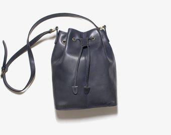 Vintage Leather Bucket Bag / Navy Bucket Bag / Drawstring Purse / Leather Drawstring Bag