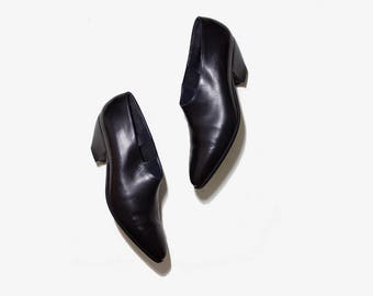 Vintage Ankle Boots 8.5 / Black Leather Booties / Leather Winklepickers / Italian Ankle Boots / Ankle Boots Women