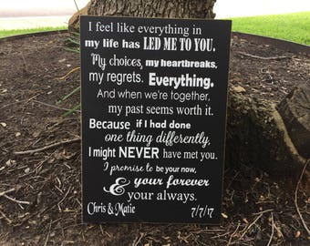 Custom Wedding Vows Wood ~3rd Anniversary ~Personalized Wedding Signage~Modern 6th ~5th Anniversary Gift For Groom ~I Take You ~Bride ~