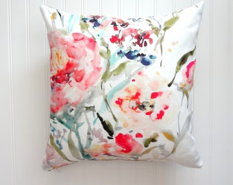 Peony Burst Pillow, Watercolor Floral Pillow Cover, Designer Fabric Pillow Cover, 18x18, 20x20, 22x22, 24x24