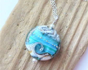Beach Necklace, Ocean Wave Jewelry, Blue Green Wave Necklace, Lampwork Sea Glass Necklace, Beach Wedding, Gift for Her, Sterling Silver