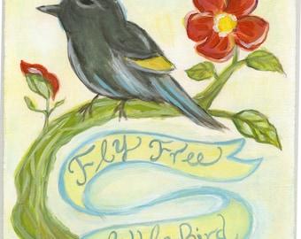 Original Painting - Floral Painting - Free Spirit Painting OOAK - Sandra Jones Illustration
