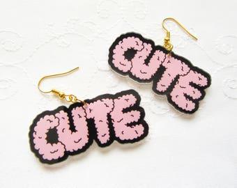 CUTE Kawaii Earrings / 90s Earrings / Cartoon Earrings / Cute Earrings / Fun / Big / Resin / Earrings