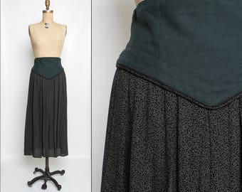80s 90s green and black long skirt with wide waistband