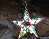 "Red, Green, Silver Mosaic 8"" Mirror Star Sun Catcher, Christmas Star, Mirror Mosaic Star, Dazzling Xmas Star  - shipping included"