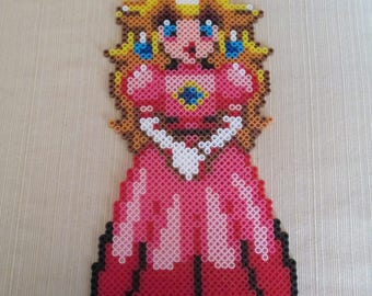 Princess Peach, Mario, Super Mario brothers, Super mario, Perler, Perler pieces, perler art, video game, video game art, geeky gifts, geeky