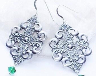 CIJ SALE Long Silver Filigree Earrings with Emerald Swarovski Elements - Emerald Earrings - Romantic Boho Jewelry - May Birthstone Gift