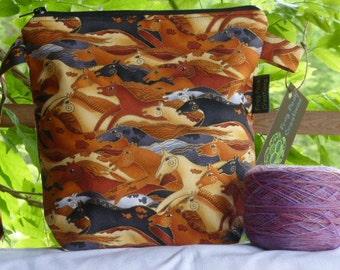 Mesa Horses (2) - Wedge - zippered, cosmetic, knitting/crochet project bag