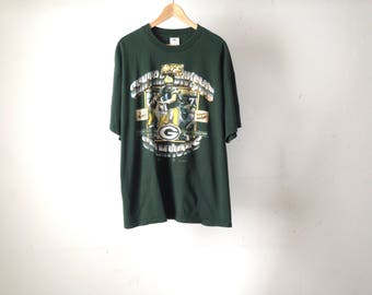 vintage GREEN Bay PACKERS faded slouchy BRETT Farve 90s nfl football t-shirt size xl