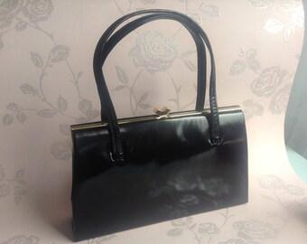 1950s Black Leather Handbag, London, Kelly Bag, Vintage 1950s purse, Vintage Bag 1950s