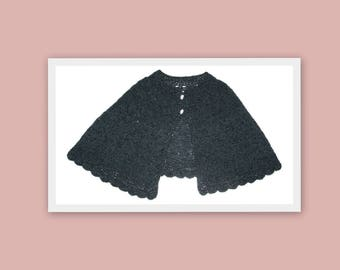1940s Black Knitted Vintage Capelet