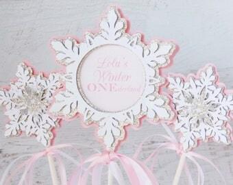 snowflake birthday centerpiece - winter birthday table decorations - winter baby shower centerpiece - winter onederland centerpiece