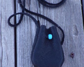 Black leather medicine bag , Ready to ship, Leather crystal bag. Black leather neck pouch , Black leather necklace bag