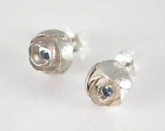 Sterling Silver  Little  Flower Earrings with Blue Sapphires , Peony Flowers Stud Earrings, Post Earring Wedding, Delicate Blossoms Ear