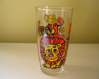 Vintage Colorful Animal Drinking Glass
