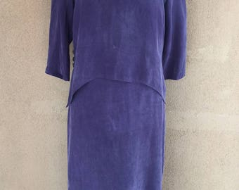 NINA PICCALINO - Vintage 80s/90s - Two Pieces Purple Dress and Over Top