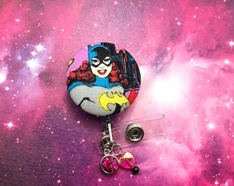 Bat Woman BatGirl Fabric Beaded Charm Superhero DC Comics Badge Reel Retractable ID Holder Nurse CNA Technician Alligator Swivel Clip