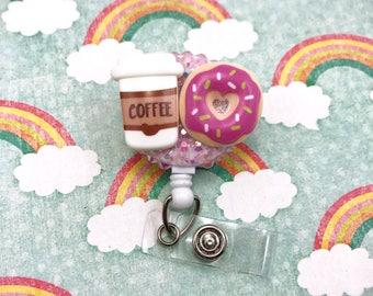 Coffee Love Pink Donut Breakfast Caffeine Badge Reel ID Holder Nurse Rn Cna Technician Md Medical assistant Sparkly Cute Rhinestone Nicu