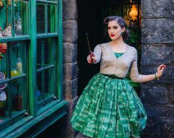50's style Hogwarts Slytherin Ambition & Cunning House dress, Harry Potter, reproduction vintage.