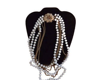 Vintage Trifari Gold Crown Seven Milti Strand Necklace Seven Different Sized White Beads Gold Chain Brooch Closure Mid Century Jewelry