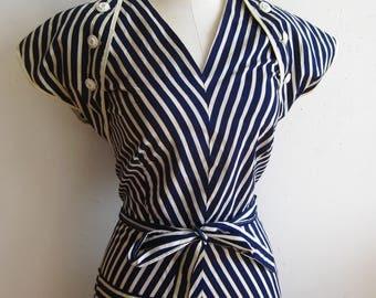 Vintage 40s Blue & White Chevron Stripe Halter Sun Dress Matching Bolero Jacket L