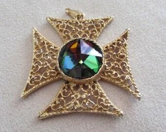 Cross shaped pendant with Swarovski crystal