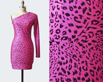Vintage 80s Metallic Leopard Print Dress / 1980s Bodycon Dress Mini Body Con Asymmetrical One Sleeve Spandex Party Dress Pink Black Small