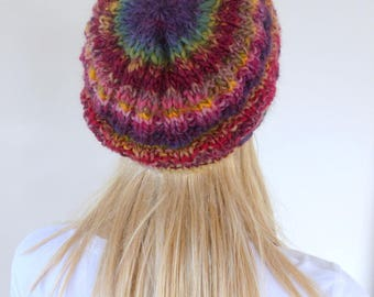 Colourful beanie Colorful Knit Hat purple Womens winter hat