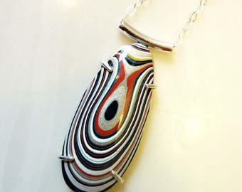 Bullseye Fordite Teardrop Pendant, Sterling Silver, Detroit Agate, Statement Gemstone Necklace, Recycled, Modern Jewelry, Stripes Circle
