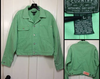 1980s 1990s 4 pocket lime green denim jean jacket size large Ralph Lauren Polo Country made in USA Oversized cropped