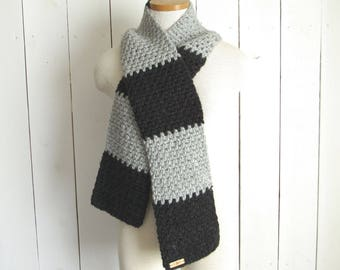 Color Block Scarf Long Winter Knit Crochet Scarf Chunky Wool Blend More Color Options