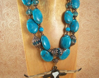 Western Cowgirl Statement Necklace Set - Chunky Dark Turquoise Howlite - Hand Painted Texas Longhorn