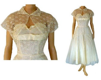 M Vintage 1950's Prom Dress Tea Length Formal Strapless White Tulle Lace Bolero Medium