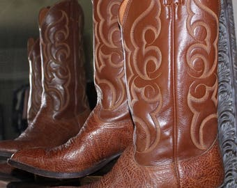 Nocana Brown Leather Cowboy Western Boots 6525 Mens 8.5