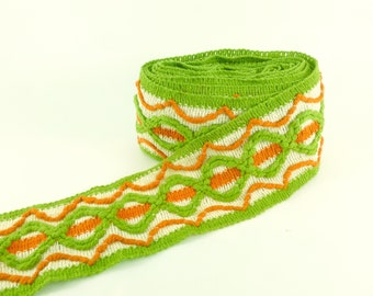 Wide Woven Sewing Trim Rust Orange, Avocado Green and Off White One Yard