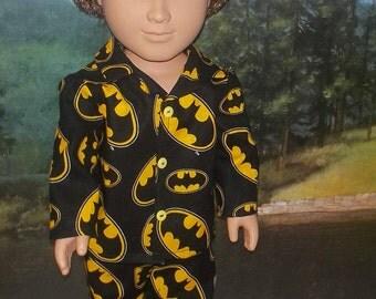 "Batman cotton pajama set fits 18"" American girl and boy doll super heroes"
