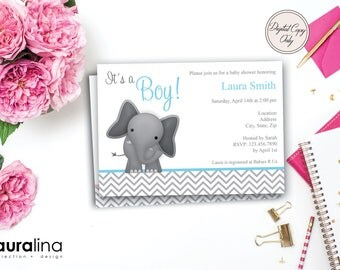 Printable Baby Boy Elephant Shower Invite ~ Digital Shower Invitation ~ Baby Girl ~ Baby Boy