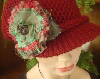 Womens Winter Hat Chemo hat peak cap claret red woollen hat newsboy