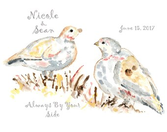 Dove print, Personalized gifts, custom valentines gift, Wedding Gift, Dove Painting, Gift for Girlfriend, Gift for Wife, Anniversary Gift